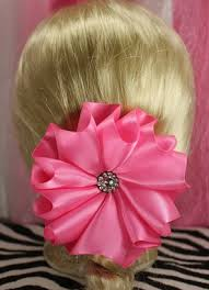 custom hair bows hot pink custom satin flower kanzashi hair bow the hair bow master