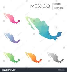 Mexico Maps Set Vector Polygonal Mexico Maps Bright Stock Vector 355582667