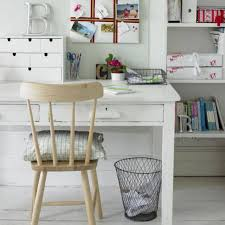 home office country style with white desk and wooden chair with