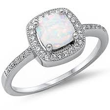 wedding rings opal images Princess cut lab created white opal cz fashion 925 jpg