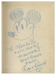 lot detail walt disney signed drawing of mickey mouse