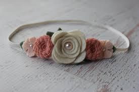felt flower headband vintage pink and wheat mixed flower garland headband wool felt