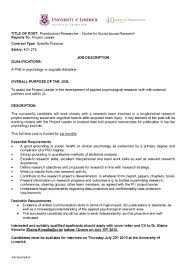 Psychology Research Assistant Cover Letter Centre For Social Issues Research Postdoctoral Position