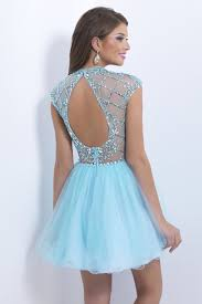 2014 high neck a line prom dress short mini with open oval back