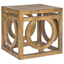 atelier nordic accent wood side table with circle pattern side
