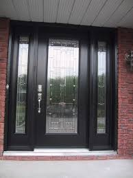 glass wood doors furniture glass door with brown wooden frame and double sidelite