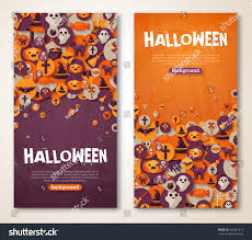 halloween banners set vector illustration flat stock vector