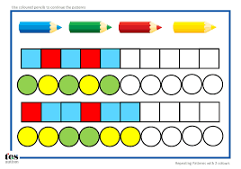 shape pattern year 2 repeating patterns with 2 colours 4 worksheet activities pupils