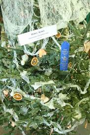 christmas tree decorations with blue ribbons ne wall