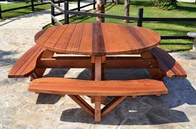 Best Wood To Make Picnic Table by Circular Picnic Table Plans Starrkingschool