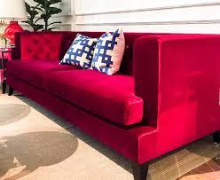 windsor red velvet chesterfield sofa 3 seater plus finnavenue
