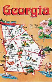Maps Of The Usa Detailed Tourist Illustrated Map Of Georgia State Georgia State