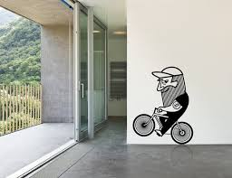 Cycling Home Decor Wall Decal Bicycle Bike Cycling Beard Home Decor