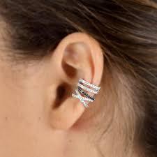 diamond helix stud cross ear cuff helix diamond ear cuff white gold earrings