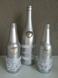 silver wine bottles items similar to silver wine bottles on etsy decor ideas