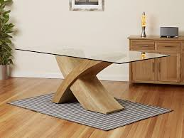 Bases For Glass Dining Room Tables 2 Metre Glass Top Dining Table With Oak Cross Base 1home Oak Glass
