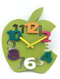 brand hippih mute 3d apple shaped wall clock sale reloj de