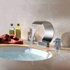 Bathroom Waterfall Faucet Chrome Ceramic Valve Color Three Sets Of Bathroom Waterfall Sink