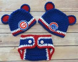 cubs newborn fan club chicago cubs crochet etsy