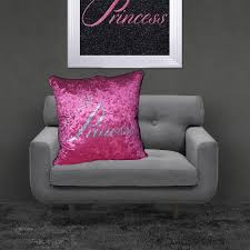 shh interiors filled crushed velvet cushion drama queen u2013 pink