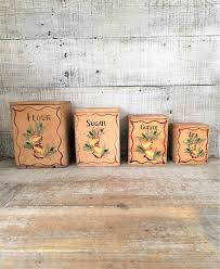 kitchen canisters flour sugar canisters wood canisters set 4 kitchen canisters vintage canisters