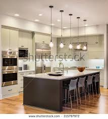 beautiful new kitchen interior island sink stock photo 245146273