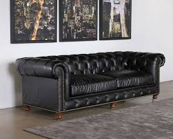 Tufted Leather Sofas Tufted Leather Sofa In Saddle Black With Nailhead Trim