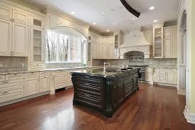 Hardwood In Kitchen by Antique White Kitchen Cabinets With Dark Island Modern Cabinets