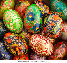 painted wooden easter eggs handpainted wooden easter eggs box decorated stock photo 102391717