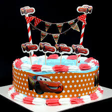 popular diy cake flag cartoon car cake wrapper birthday party