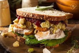 leftover thanksgiving dinner turkey sandwich with