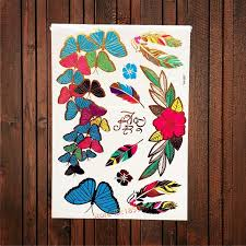 colorful butterfly designs falsh metallic temporary
