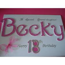 handmade grand personalised name 18th birthday card on