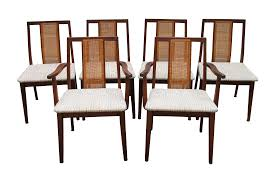 mid century hibriten cane back chairs set of 6 chairish