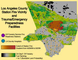 Map Of Los Angeles County lab 7 the station fire matthew kroneberger geography 7