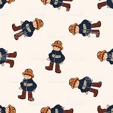 fireman cartoon seamless pattern background stock vector art