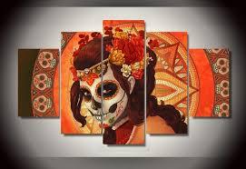 dia de los muertos home decor 5 pieces canvas art set day of the dead face group painting room