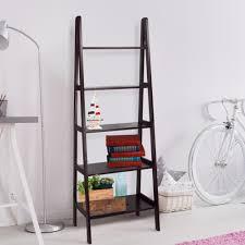 Narrow Ladder Bookcase by Danya B 63 In Espresso Finish 5 Tier Corner Ladder Display