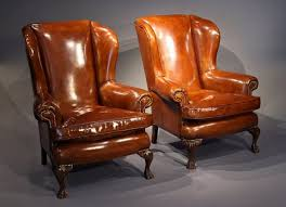 Winged Chairs Design Ideas Best Pair Antique Of Leather Wing Chairs Loveday Antiques Inside