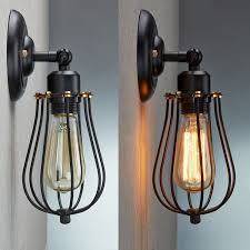 ce vintage industrial loft rustic cage sconce wall light wall