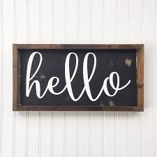 hello framed wood sign cursive handwritten font decor hand