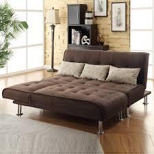 Futon Sleeper Sofa Brown Microfiber 2 Pc Sectional Sofa Futon Chaise Bed