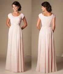 cheap modest bridesmaid dresses blushing pink formal length modest chiffon evening