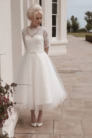 illusion vintage long sleeve lace tea length wedding dress with