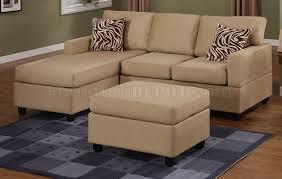 3 Seat Sectional Sofa Hazelnut Plush Microfiber Casual Small Sectional Sofa W Ottoman