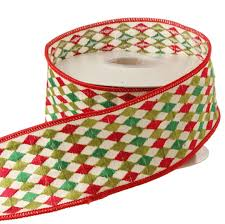 christmas wired ribbon raz 2 5 inch green and ivory harlequin wired christmas ribbon