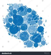 shades of color vector map tanzania filled circles different stock vector