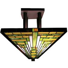 Flush Mount Stained Glass Ceiling Light Pewter Flushmount Lights Ceiling Lights The Home Depot