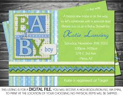 boys baby shower invitation scrapbook theme blue green