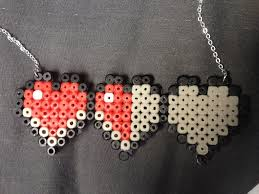 Make Your Own Name Necklace 8 Bit Minecraft Hearts Hama Bead Necklace How To Make A Pegboard
